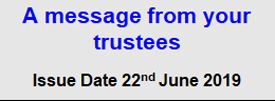 Message from your Trustees