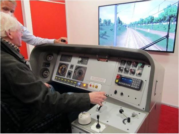 A train simulator at Newcastle station.